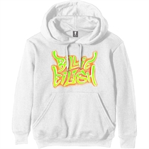 Eilish, Billie: Airbrush Flames Blohsh White Hoodie